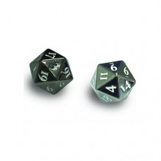 Ultra PRO Dice - 2-Dice Set Heavy Metal (D20) - Gun Metal w/ White Numbers - 85090