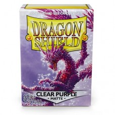 Dragon Shield 100 - Standard Deck Protector Sleeves - Matte Clear Purple - AT-11029